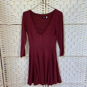 Urban Outfitters Raspberry Henley Skater Dress